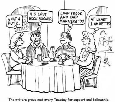 The writers group met every Tuesday for support and fellowship.
